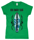 Tribal Tiki Surf Board Ladies Classic Fitted T-Shirt-Bob Gnarly Surf
