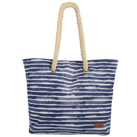 Tamri Canvas Beach Bag Navy Blue Stripe - Bob Gnarly Surf