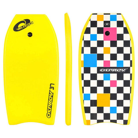 "Velocity 37"" Yellow Bodyboard with Leash"