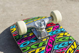"Multi Colour Double Kick 31"" Skateboard - Stickers-Bob Gnarly Surf"