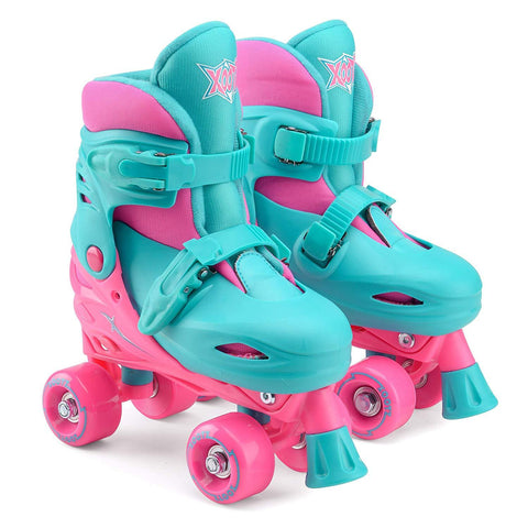 Kids Quad Skates Size Adjustable Pink / Green
