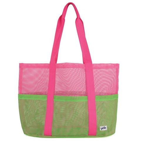 Mesh Tote Beach Bag Green-Bob Gnarly Surf
