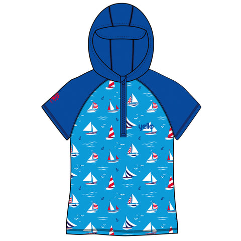 Infant Hooded Rash Vest Sailboat Age 1-4-Bob Gnarly Surf