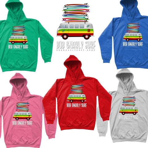 Groms Fully Stacked Camper Van Kids Hoodie-Bob Gnarly Surf
