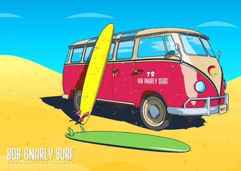 Bob Gnarly Surf Bus Landscape Wall Art Poster