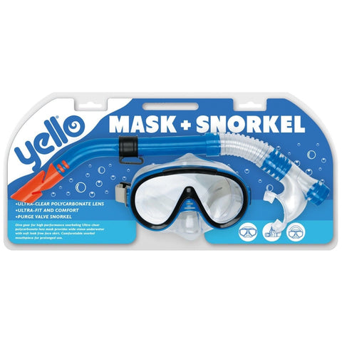Adult Pro Mask & Purge Valve Snorkel Set Pool Sea Beach Dive Holiday - Bob Gnarly Surf