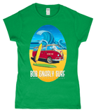 Bob Gnarly Surf Bus Ladies Fitted Short Sleeve T-Shirt-Bob Gnarly Surf