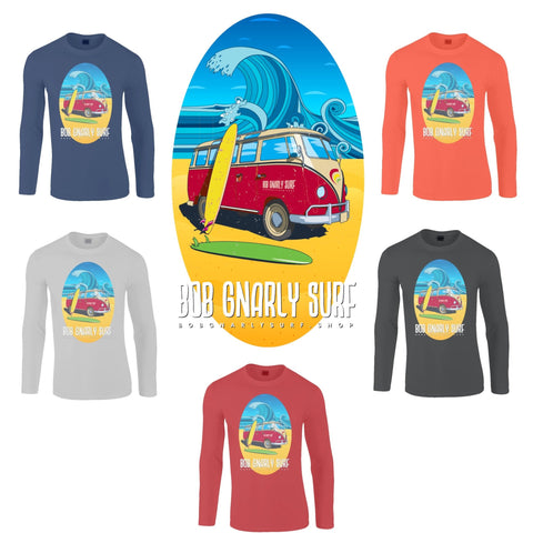 Bob Gnarly Surf Bus Unisex Long Sleeve T-Shirt-Bob Gnarly Surf
