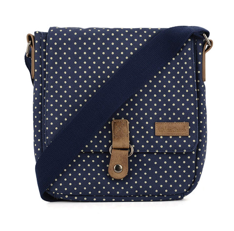 Cross Body Canvas Bag Dots Navy Blue-Bob Gnarly Surf