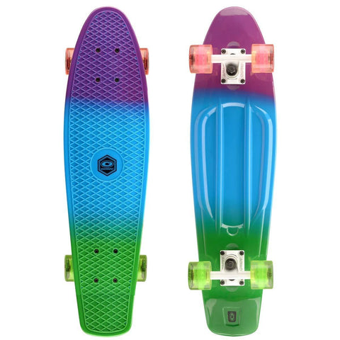 Dip Dye Retro Plastic Mini Cruiser Skateboard-Bob Gnarly Surf