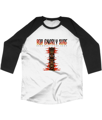 Fire TIKI Totem Classic Baseball Shirt-Bob Gnarly Surf