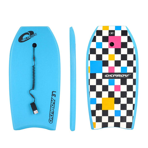 "Velocity 37"" Blue Bodyboard with Leash"