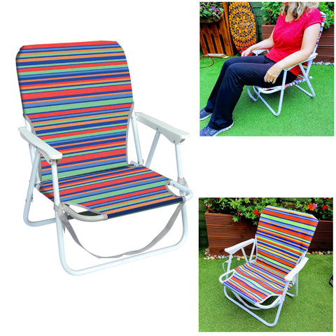 Low Folding Beach Chair Stripes