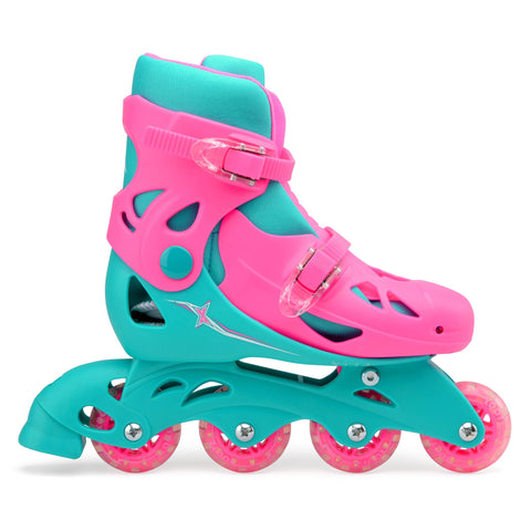 Kids Inline Skates Size Adjustable Pink / Green