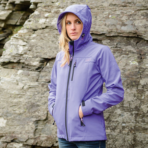 Womens Purple Softshell Jacket Waterproof Breathable Walking Hiking-Bob Gnarly Surf