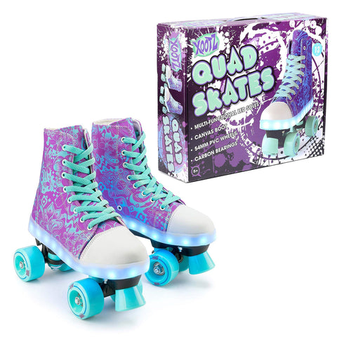 Kids Canvas Boot Roller Skates with LED Lights