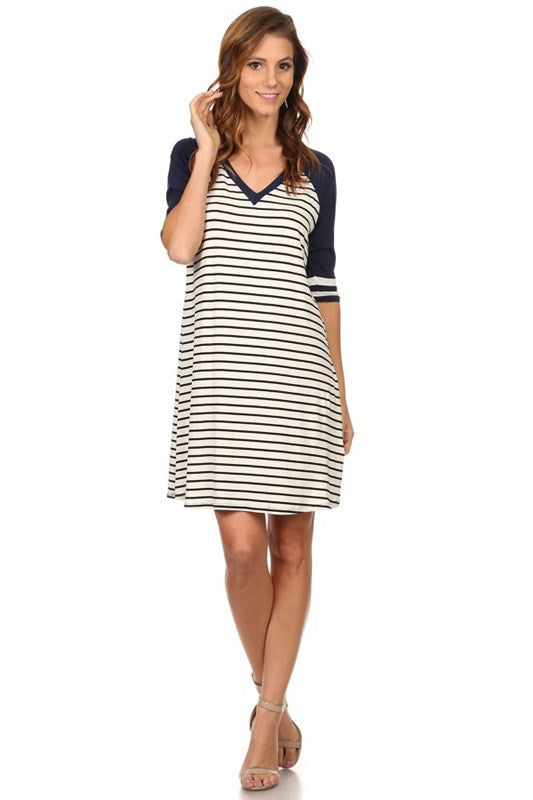 Navy Striped Game Day Dress