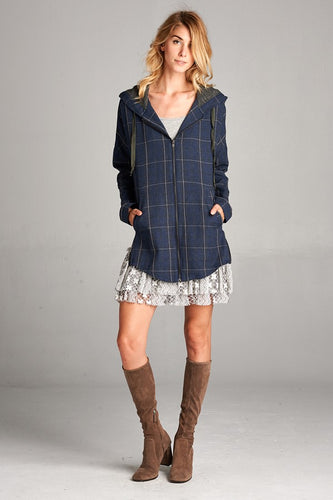 Navy Plaid Zip Up
