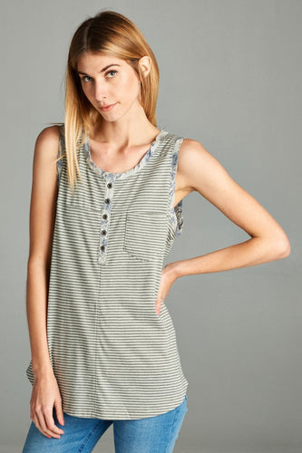 Button Pinstripe Tank