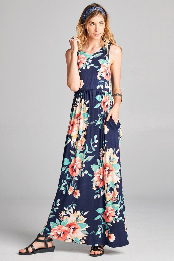 Perfect Floral Maxi - Navy