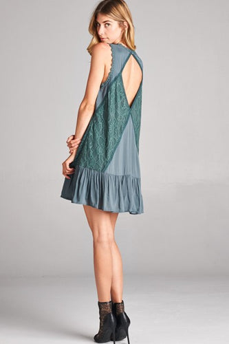 Olive Open Back Dress