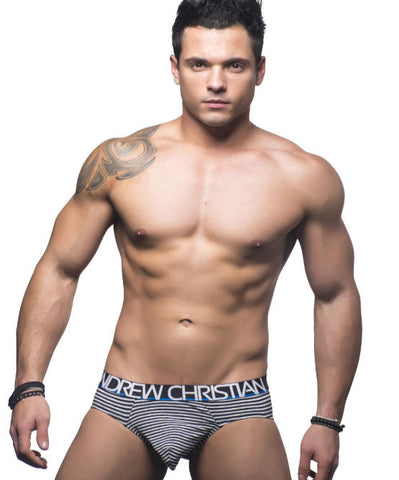 ANDREW CHRISTIAN FLY LIMITED EDITION ALMOST NAKED COTTON BRIEF (BLACK/WHITE) - The Jock Shop
