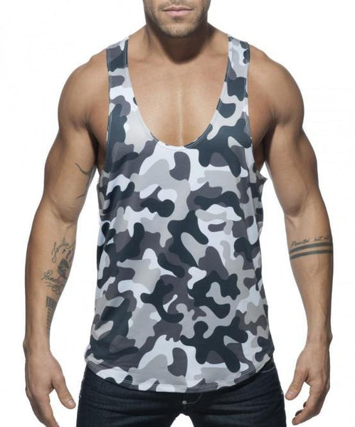 ADDICTED COMBI CAMO TANK TOP (CAMO GREY) - The Jock Shop
