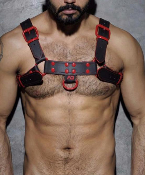 [PRE ORDER ONLY] ADDICTED FETISH RED TRIM LEATHER HARNESS (BLACK/RED) - The Jock Shop