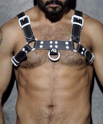 [PRE ORDER ONLY] ADDICTED FETISH WHITE TRIM LEATHER HARNESS (BLACK/WHITE) - The Jock Shop