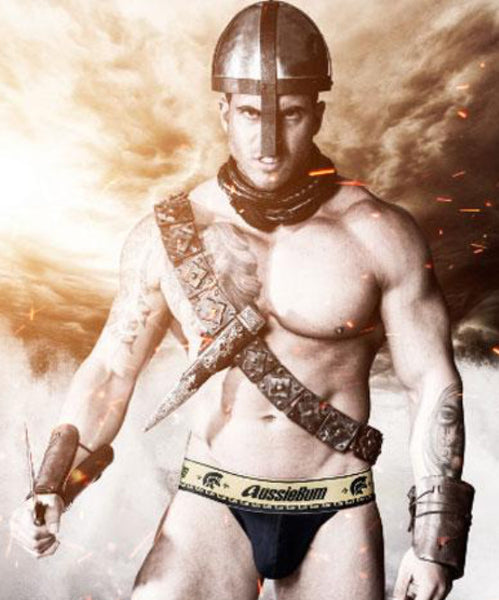 AUSSIEBUM GLADIATOR BIKINI BRIEFS (BLACK) - The Jock Shop