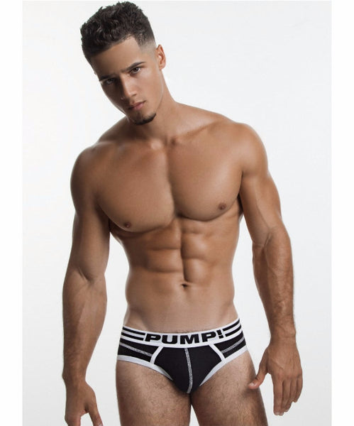 PUMP! LUX BLACK SPORTS MESH BRIEF (BLACK) - The Jock Shop