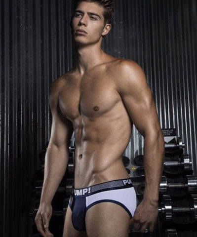 PUMP! RIBBED BRIEF (NAVY) - The Jock Shop