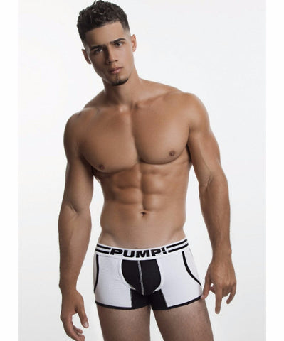 PUMP! DROP-KICK JOGGER MESH BOXER (WHITE/BLACK) - The Jock Shop
