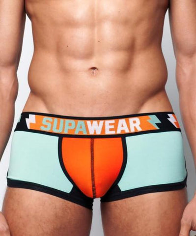 SUPAWEAR SUPACHARGE TRUNK UNDERWEAR (LIGHT BLUE/ORANGE) - The Jock Shop