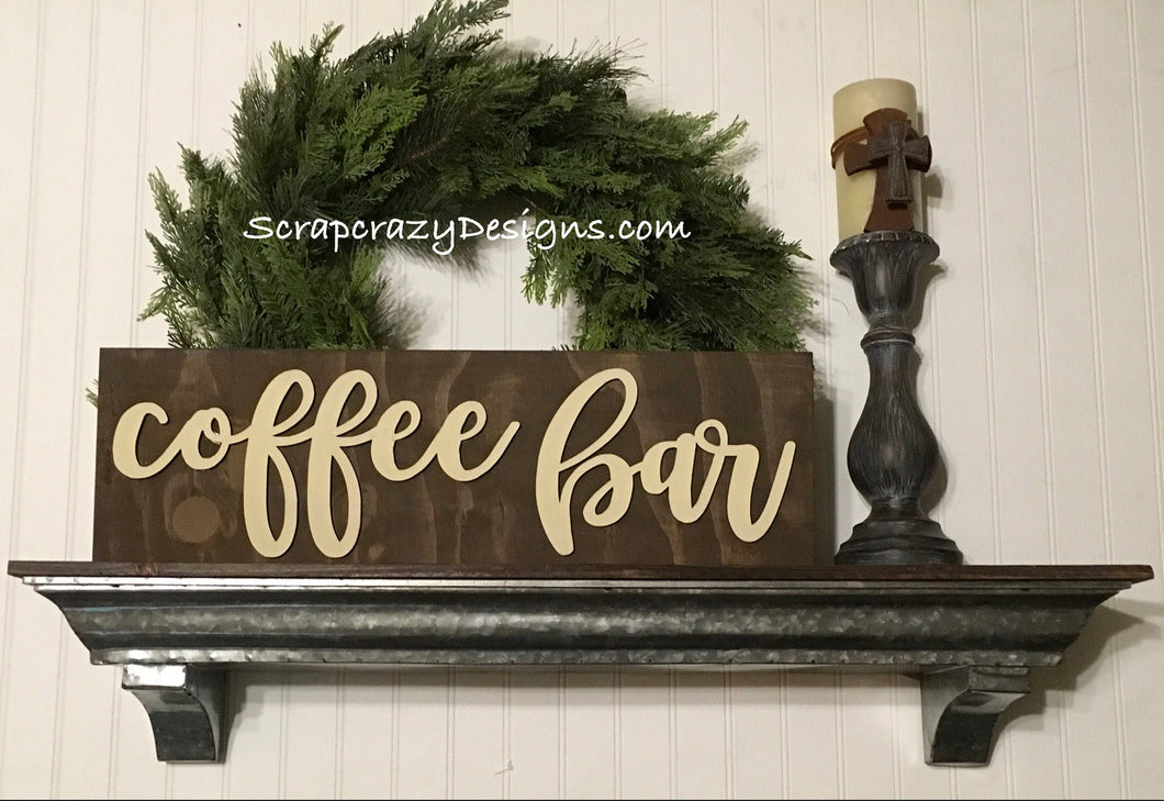 Coffee bar, wall sign, 3D wood signs, wood signs, 3D