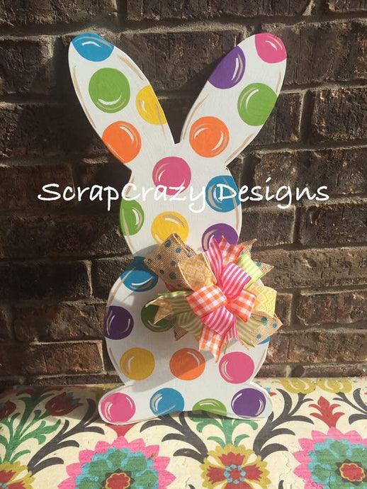 Polka Dot Bunny Door hanger, wood door hanger, easter door hanger, easter, easter decor