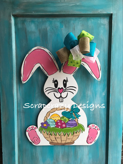 Easter Bunny, Bunny Door hanger, wood door hanger, easter door hanger, easter, easter decor
