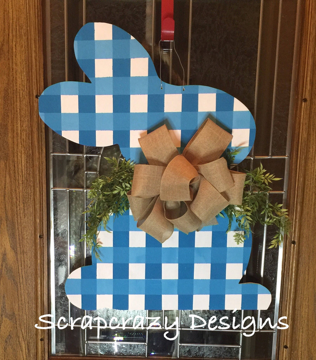 Plaid Bunny Door hanger, wood door hanger, easter door hanger, easter, easter decor, spring decor