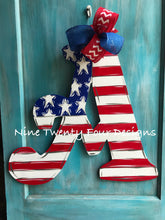 Patriotic Letter Door Hanger, personalized door hanger,july 4th door hanger, military door hanger, american flag