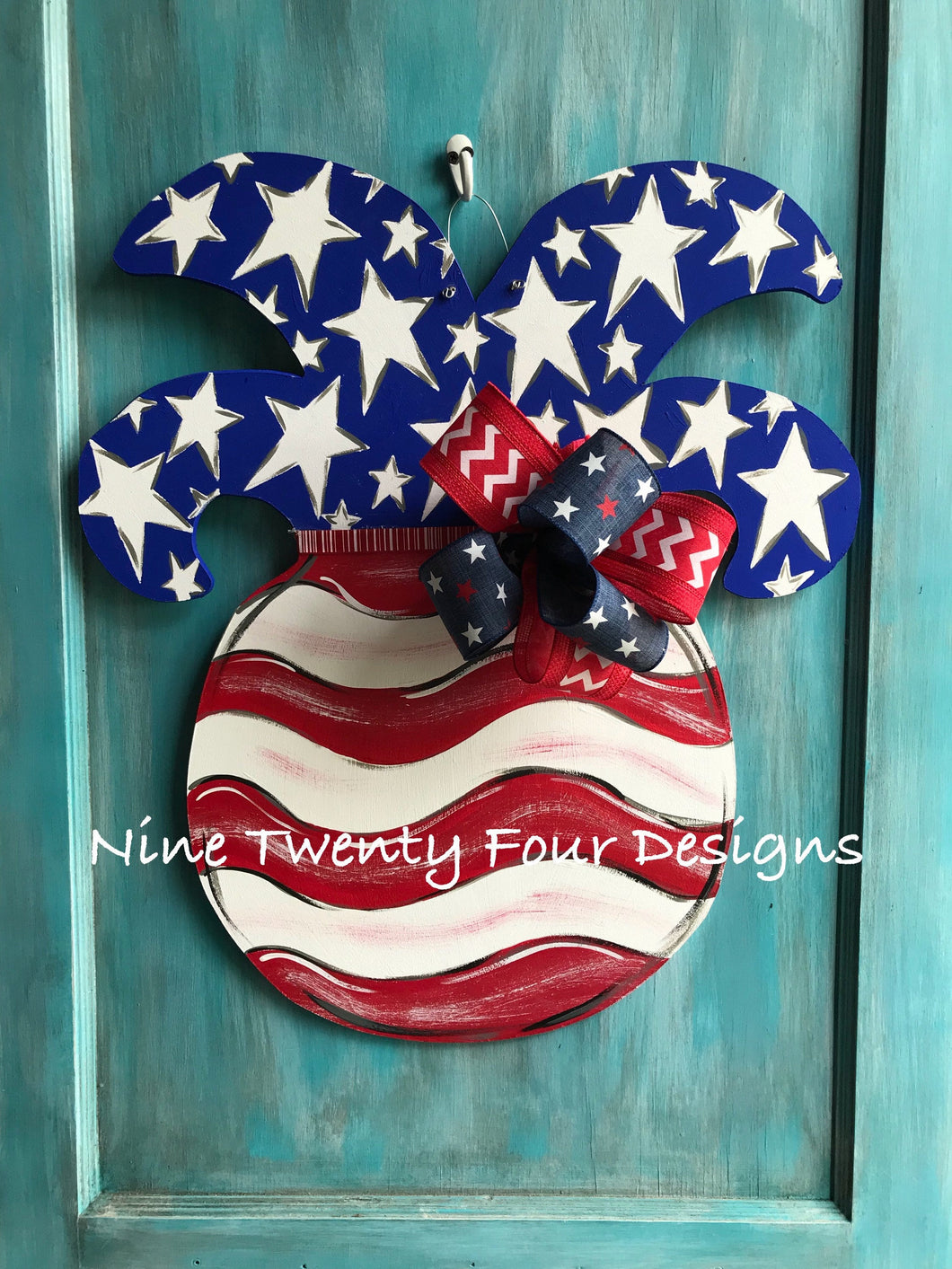 Patriotic Pineapple Door hanger, pineapple, door hanger, patriotic, july 4th, Memorial Day, military, summer door