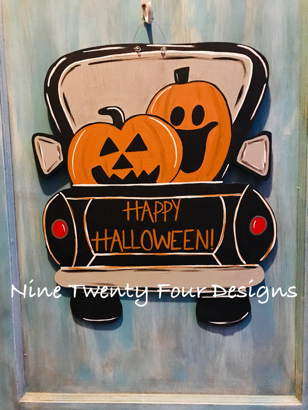 Truck door hanger, halloween door hanger, wood door hanger, door hanger, halloween, pumpkins