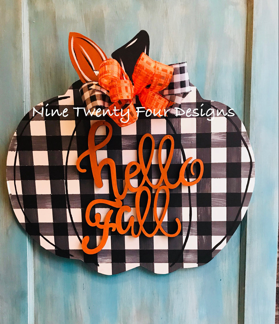 Bufallo plaid Pumpkin, fall door decor, painted pumpkin, fall, pumpkin door hanger, wood door hanger, door hanger