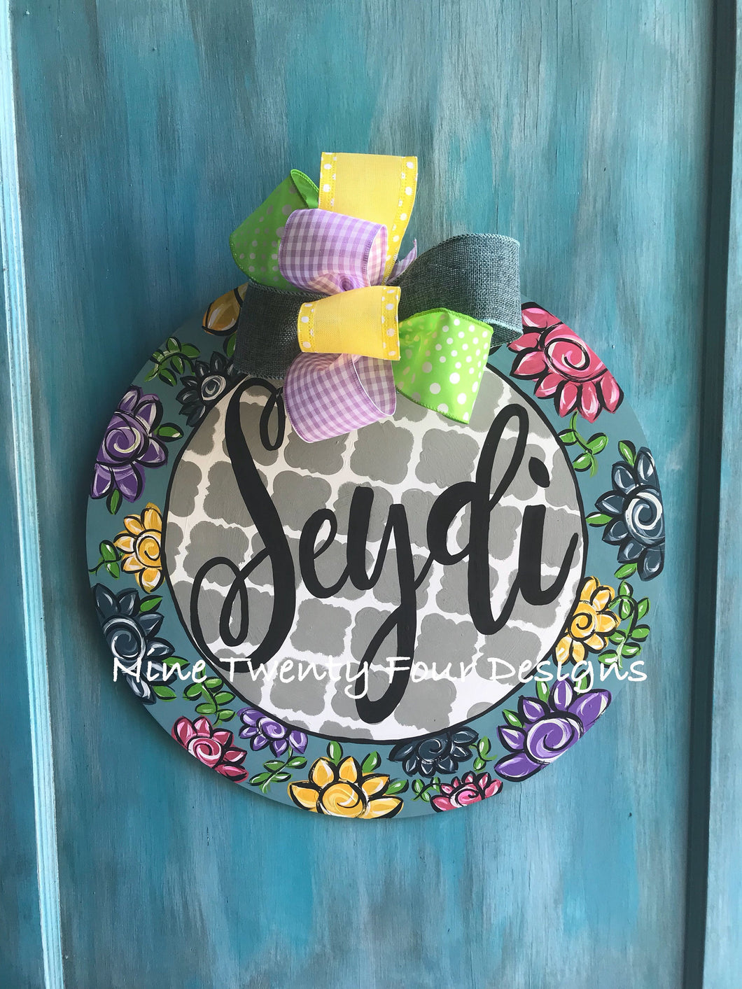 Door hanger, dorm door hanger, monogram door hanger, dorm decor, door dcoration, door decor, hand painted door hanger, girls door hanger