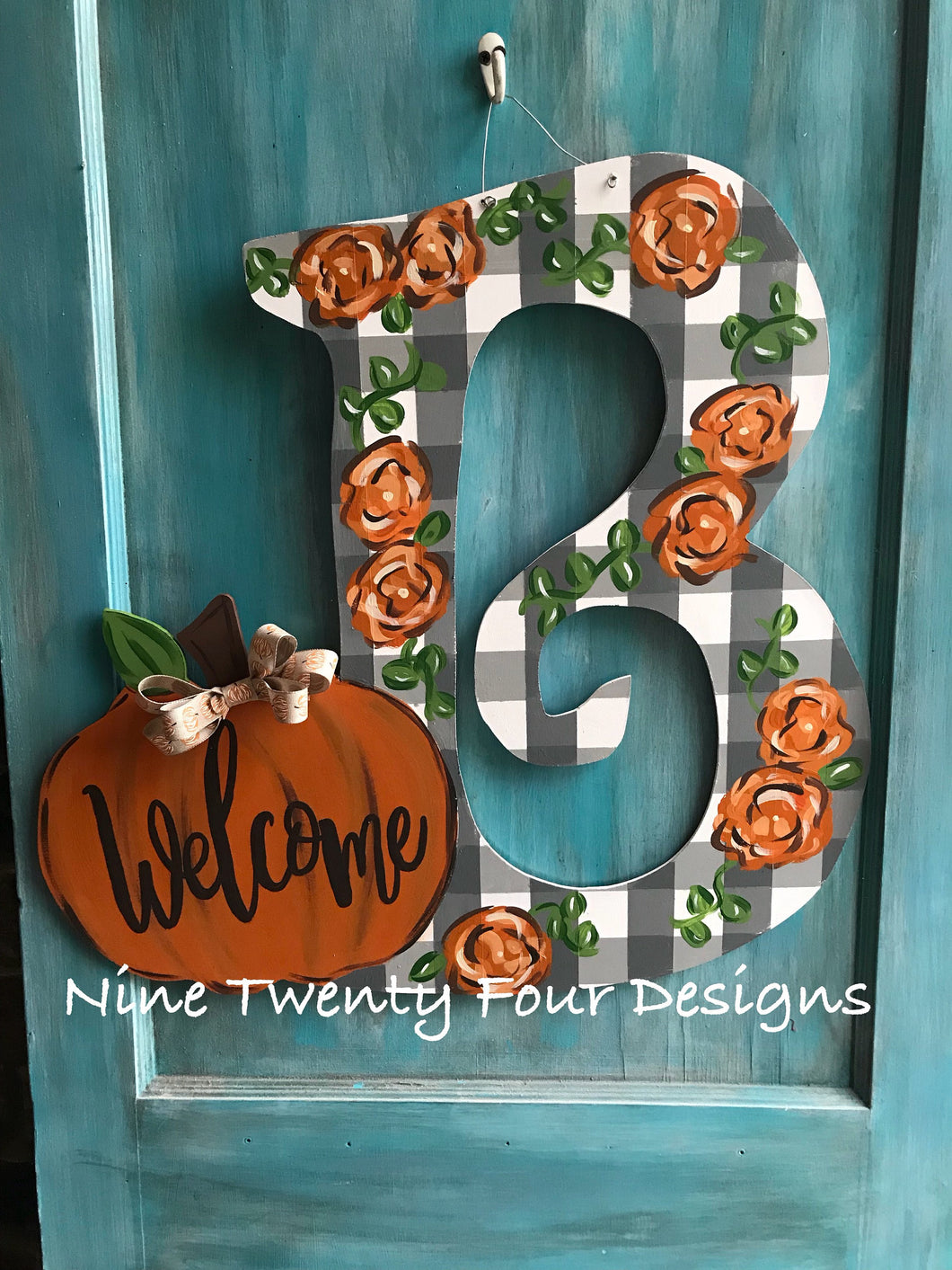 Pumpkin Letter Door Hanger, personalized door hanger, painted letted, hand painted door hanger, fall door hanger