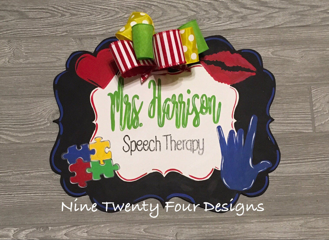 Speech Therapy Door hanger, speech, teacher gift, clinic decor, school, speech decor, school decor