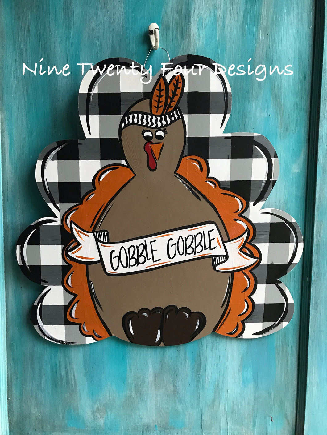 Buffalo plaid Turkey day, door hanger, wood door hanger, thanksgiving decor, thanksgiving, turkey door hanger, turkey, thanksgiving