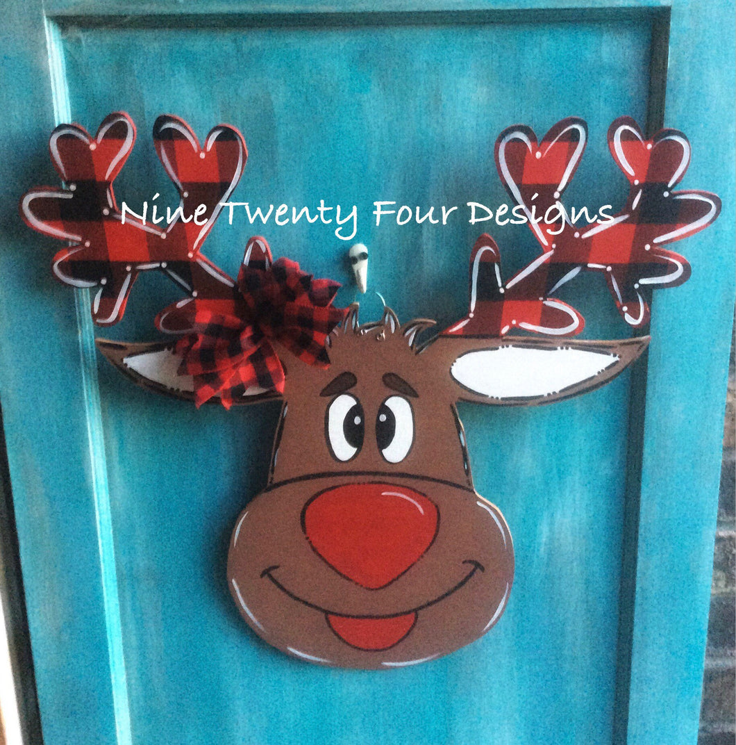 Buffalo Plaid Reindeer door hanger, christmas door hanger, christmas decor, wood door hanger, holiday door hanger, rudoulph