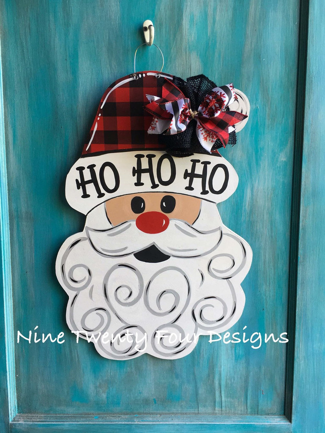 Santa door hanger, christmas door hanger, christmas decor, wood door hanger, holiday door hanger