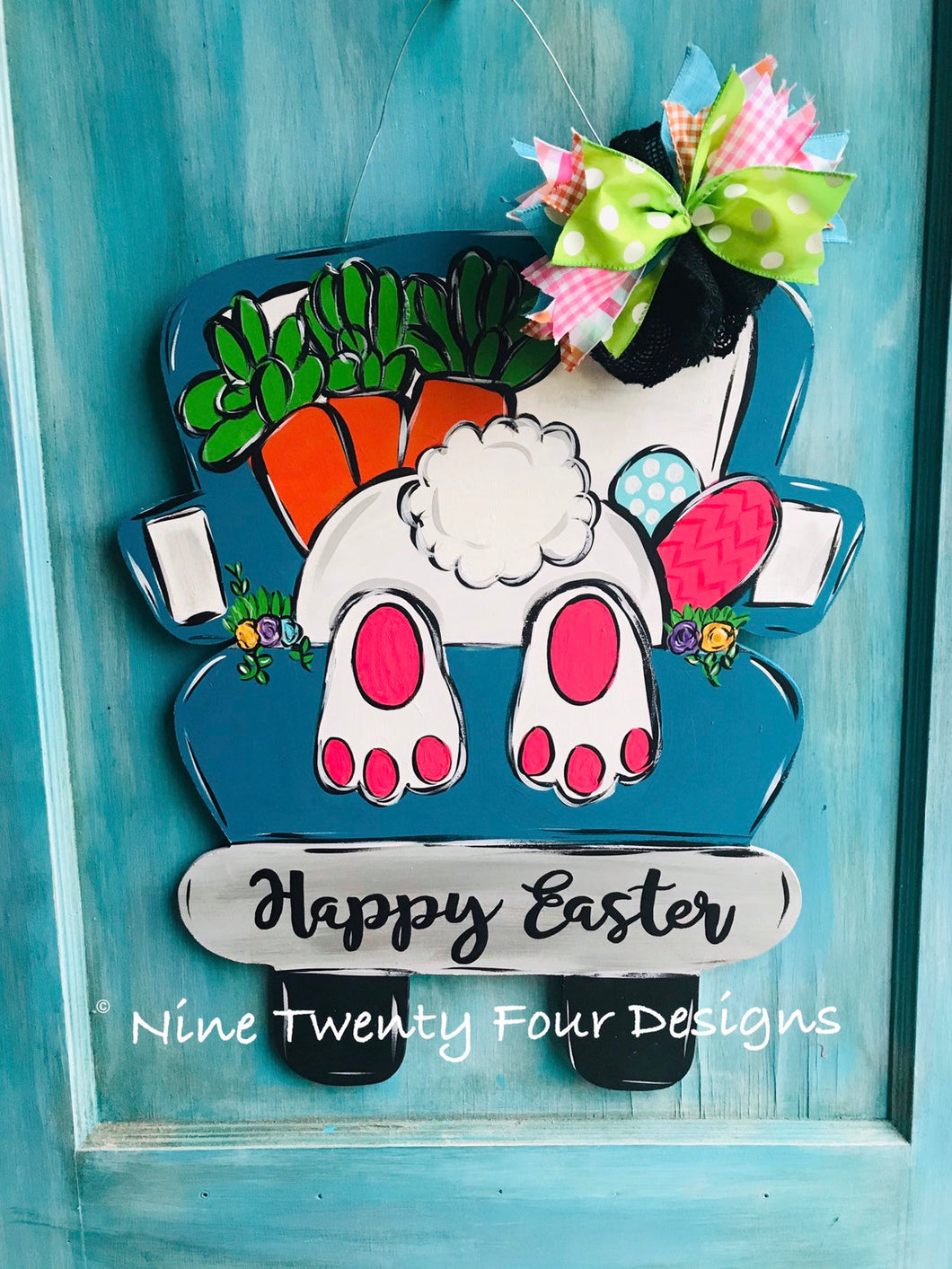 Bunny Truck Door hanger, wood door hanger, easter door hanger, easter, easter decor