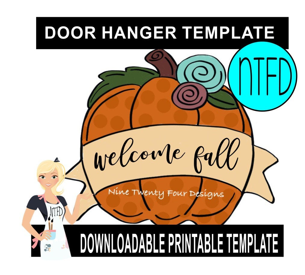 floral pumpkin  door hanger downloadable file printable template